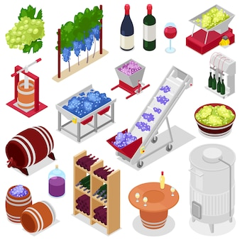 De wijnalcohol van de wijnmakerij in wijnflessen of wijnglas met druif of wijnstok op wijnbereidingsillustratie