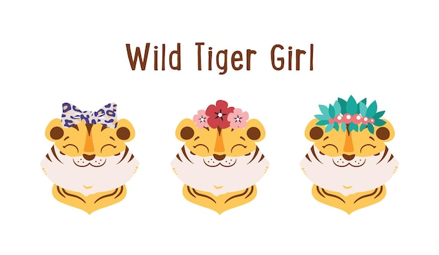 De wilde tijgermeisjes met bloemenboog bladeren de schattige gezichten dieren is goed voor tijgerdaglogo's