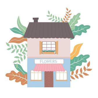 De winkel van vooraanzichtbloemen die commerciële buiteninstallaties bouwen
