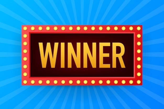 De winnaar retro banner met gloeiende lampen. poker, kaarten, roulette en loterij