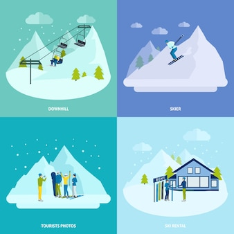 De winter actieve rust in het conceptenset van het bergenontwerp