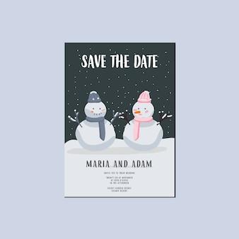 De winter bewaart de datum huwelijksuitnodiging, sneeuwmanpaar