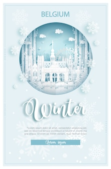 De winter in belgië voor reis en reis reclameconcept
