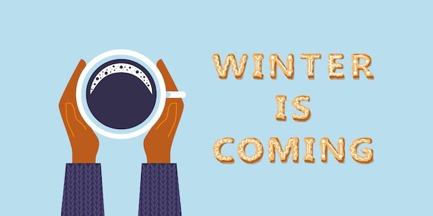 De winter komt de belettering van felicitatie