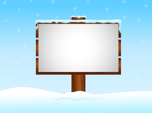 De winterachtergrond met leeg teken in de sneeuw