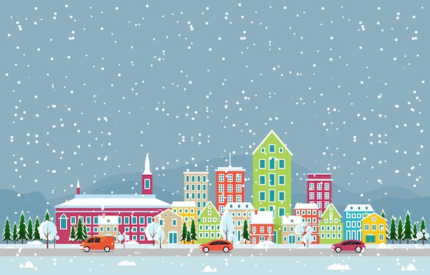 De wintersneeuw in cityscape van de stad van kopenhagen illustratie