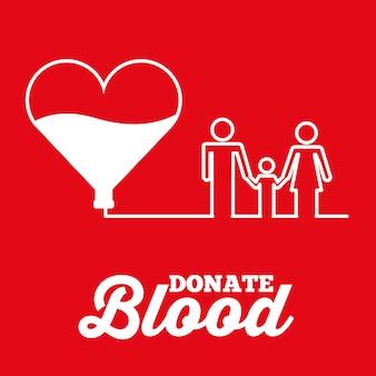 De witte hartfamilie schenkt bloed rode achtergrond