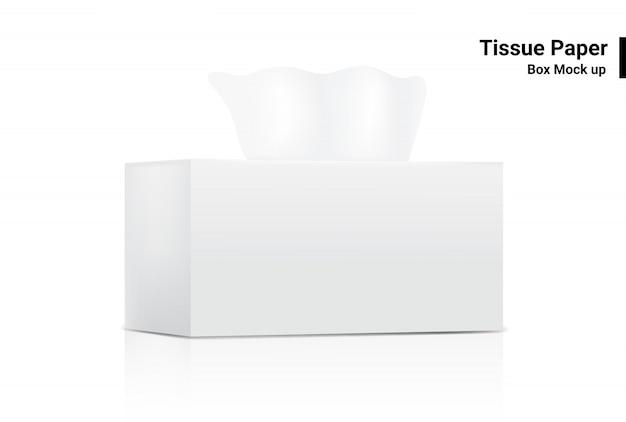 De witte weefseldoos bespot realistische productverpakking op witte vectorillustratie als achtergrond