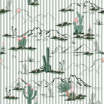 De woestijn met cactus en berg bloeit naadloos patroon