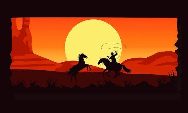 De woestijnachtige zonsondergangscène van het wilde westen met cowboy en paarden