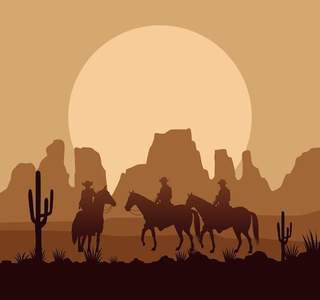 De woestijnachtige zonsondergangscène van het wilde westen met cowboys en paarden