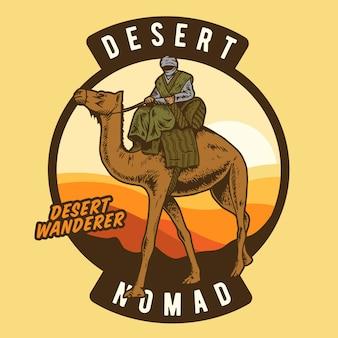 De woestijnzwerver die op een kameel rijdt