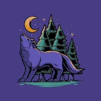 De wolf brult in de bosillustratie