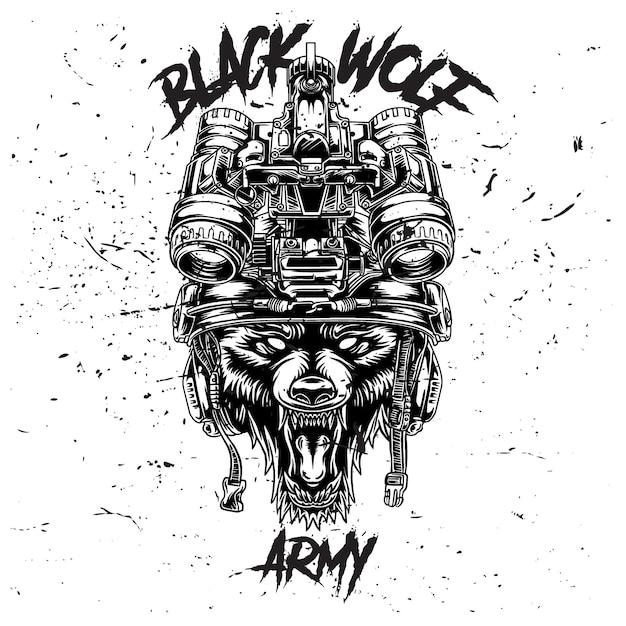 De wolf gebruikt een tactische legerhelm bovenop de witte begroun
