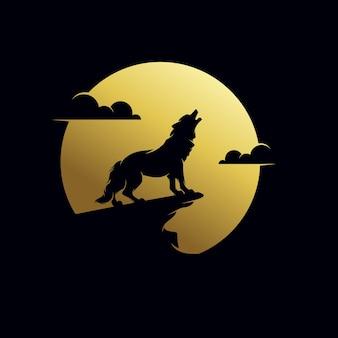 De wolf huilt naar de ontwerpsjabloon van het maanlogo