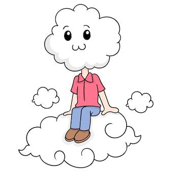 De wolk geleide jongen zit stil in de hemel boven de wolken, vectorillustratieart. doodle pictogram afbeelding kawaii.