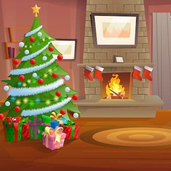 De woonkamer is met kerst ingericht