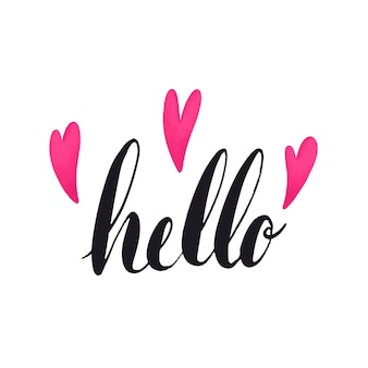 De woord hello typografie die met hartenvector wordt verfraaid