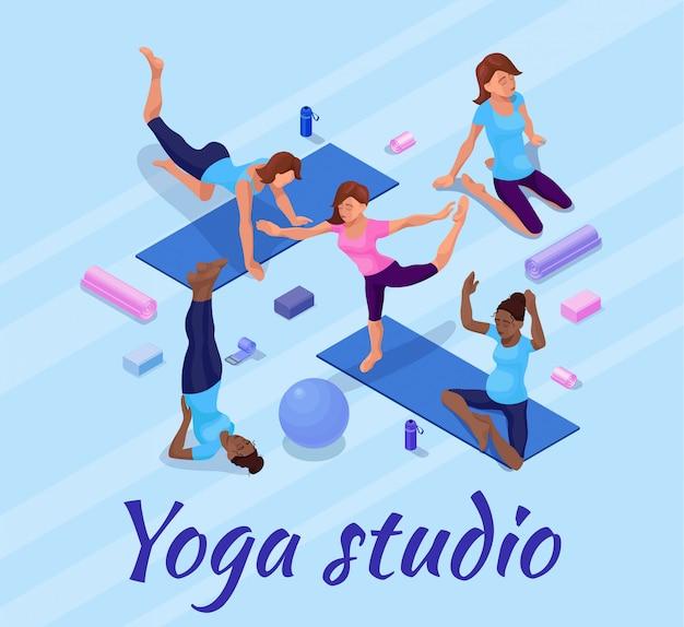 De yoga stelt banner met vrouw die fysieke geschiktheidsoefening doen