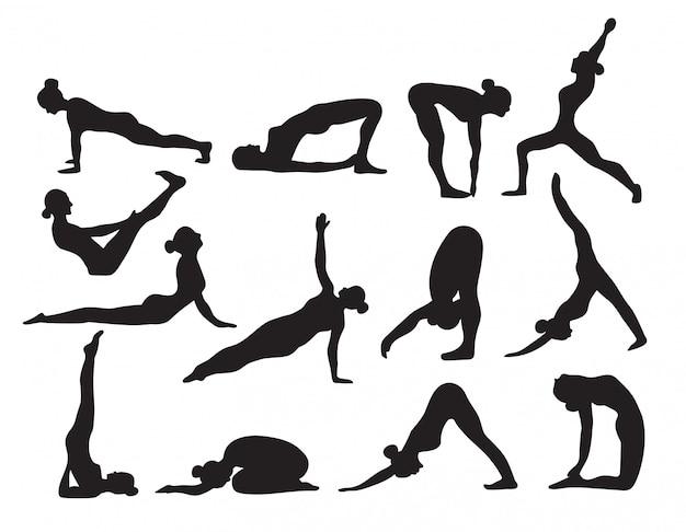 De yogasilhouetten schetsen zwart-witte reeks