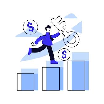 De zakenlieden met sleutel lopen over de groeiende grafiek.