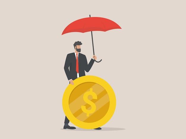De zakenman beschermt zijn munt, verzekeringsconcept