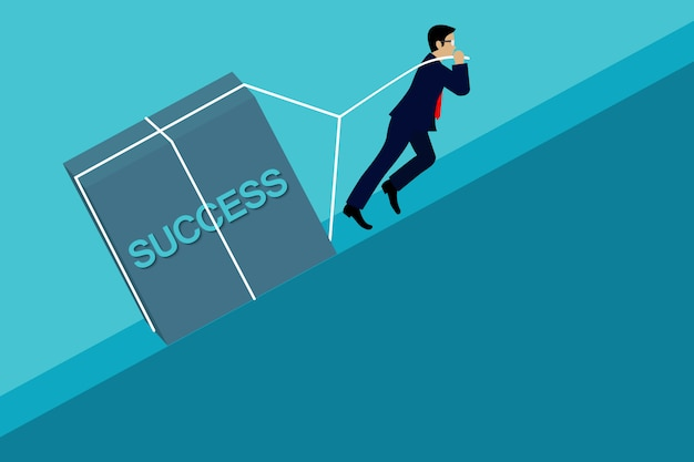 De zakenman die het beton omhoog trekken, gaat naar het doel van bedrijfssucces