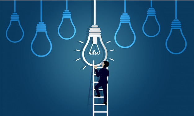 De zakenman die op trap opstapt gaat naar lamp. bestemming, overwinning op zakelijk succes concept met idee gloeilamp