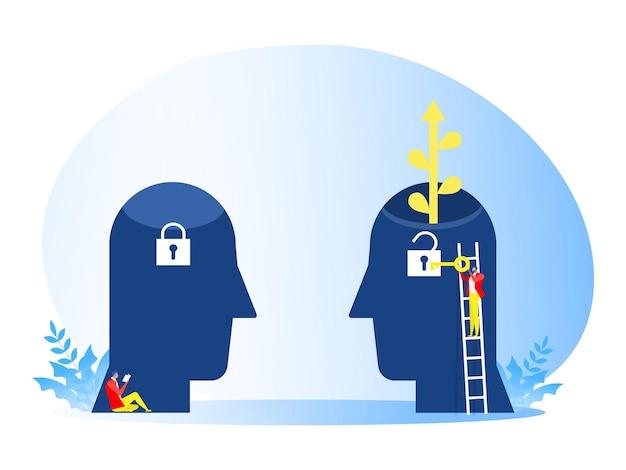 De zakenman draagt een grote sleutel om het concept van de ideeëngroeimindset te ontgrendelen.