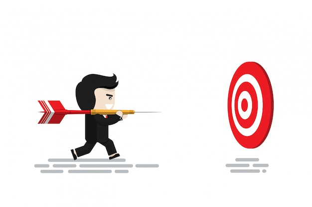 De zakenman draagt groot rood pijltje lopend om dartboard, vlak ontwerpkarakter, illustratieelement, financieel concept te richten
