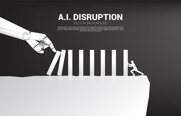De zakenman duwt de domino om met robothand te vechten. bedrijfsconcept van verstoring van ai om het domino-effect te bereiken.