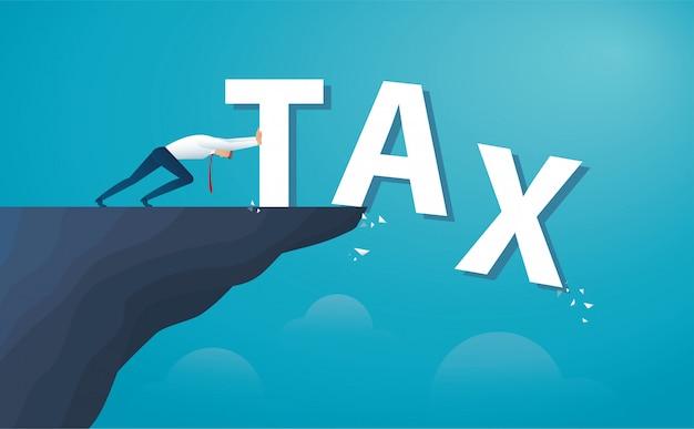 De zakenman duwt de woordbelasting vanaf de bovenkant van de heuvel