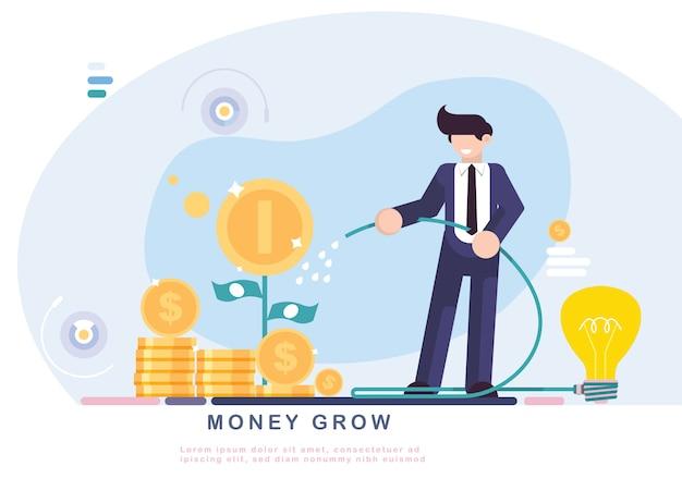 De zakenman geeft een boom van geld met idee water