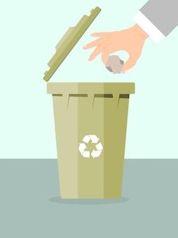 De zakenman gooit vuilnis voor recyclingsillustratie weg.