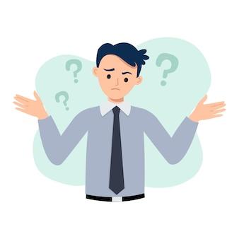 De zakenman heft zijn handen op met een verwarde uitdrukking onzekerheid en twijfelconcept