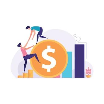 De zakenman helpt om een illustratie van het dollarteken te beklimmen