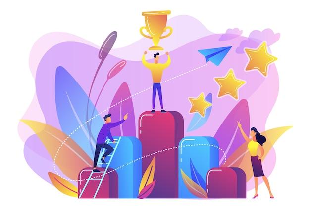De zakenman houdt een trofeekop bovenop kolomgrafiek. sleutel tot succes en succesverhaal, zakelijke kans, op weg naar succesconcept