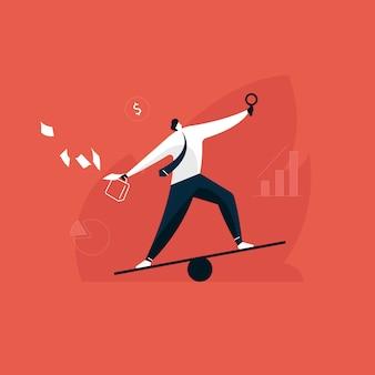 De zakenman houdt evenwicht op het werk en het leven, multitasking-manager