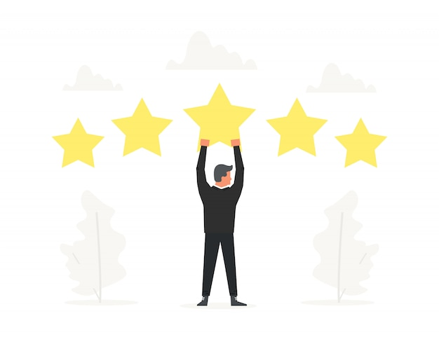 De zakenman houdt grote ster lucht.