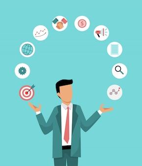 De zakenman jongleert bedrijfspictogrammen. illustratie van de juiste distributie werktijd. bedrijfsmanagement.