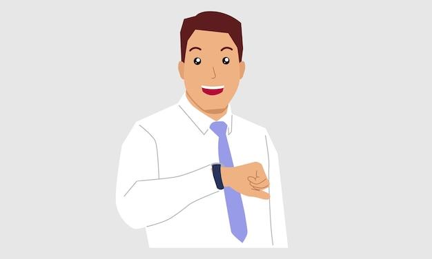 De zakenman kijkt op zijn horloge om de tijd te controleren