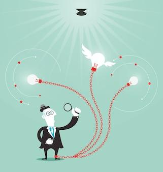 De zakenman leidt tot idee - bedrijfsconcept