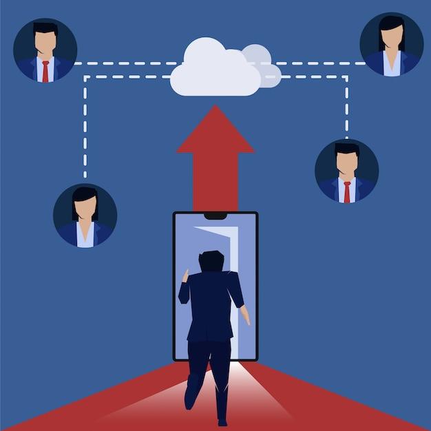 De zakenman loopt om te telefoneren krijgt een baan online wolkenserver.