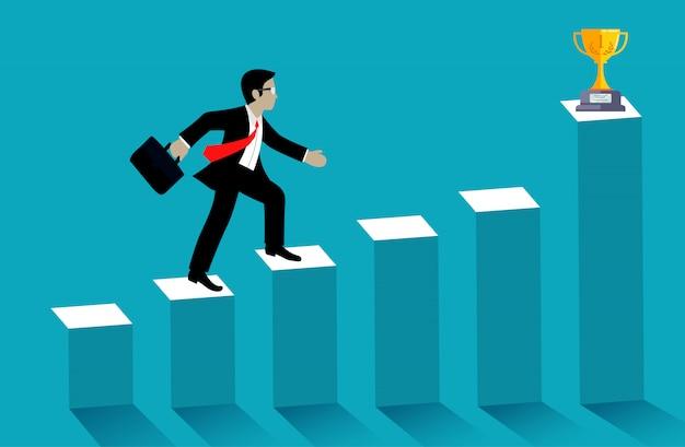 De zakenman loopt omhoog de grafiek gaat naar trofee op blauwe achtergrond