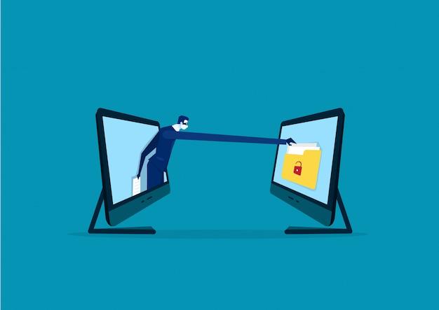 De zakenman met een hand wil informatie van laptop stelen