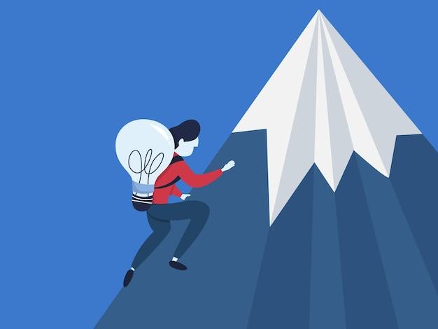De zakenman met idee beklimt de berg. klimmer op de hoge heuvel. zakelijke uitdaging. geïsoleerd plat