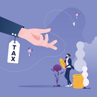De zakenman moet belasting-betalend belastingenconcept betalen