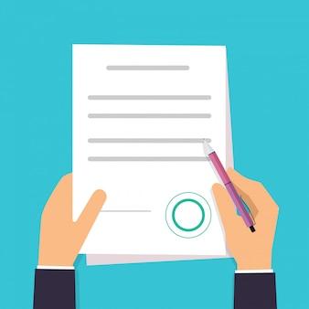 De zakenman ondertekent een contract. vector overeenkomst pictogram in vlakke stijl.