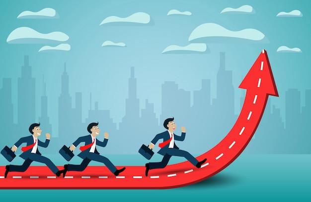 De zakenman stelt de concurrentie op rood en witte pijl in werking. ga naar succes doel.