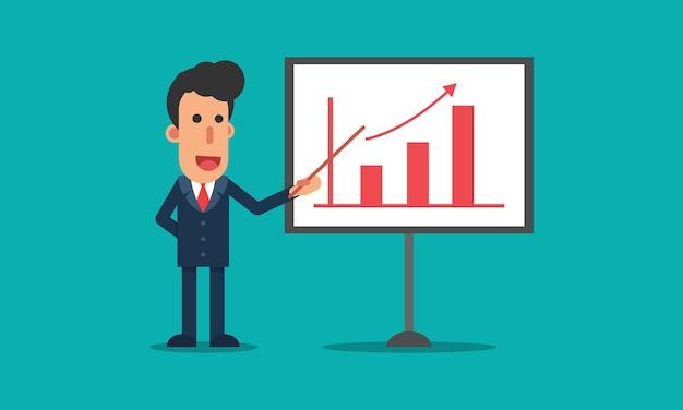 De zakenman toont presentatie van zaken kweken bij witte raad